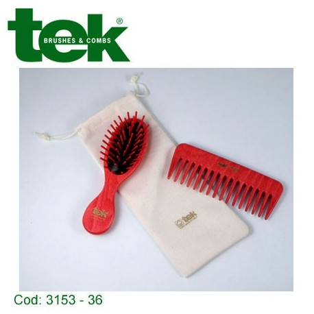 Set 2 pezzi in legno colorato con custodia in cotone naturale Rosso - TEK