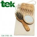 Set 3 pezzi in frassino con custodia in cotone naturale - TEK