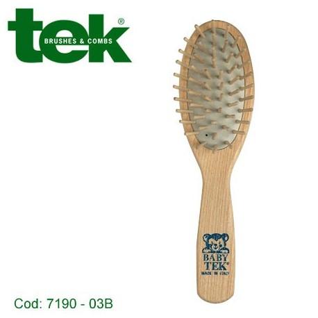 Spazzola con dentini in legno per bambini (timbro blu) - TEK