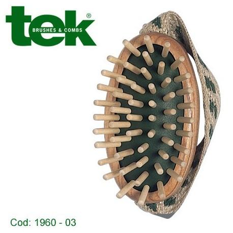 Spazzola massaggio cuoio capelluto con denti in legno e tieni-mano in cotone. Con custodia in cotone - TEK