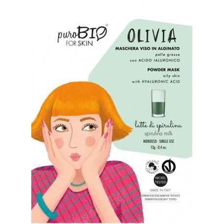 """MASCHERA VISO IN ALGINATO PELLE GRASSA """"OLIVIA"""" 10 - PUROBIO"""