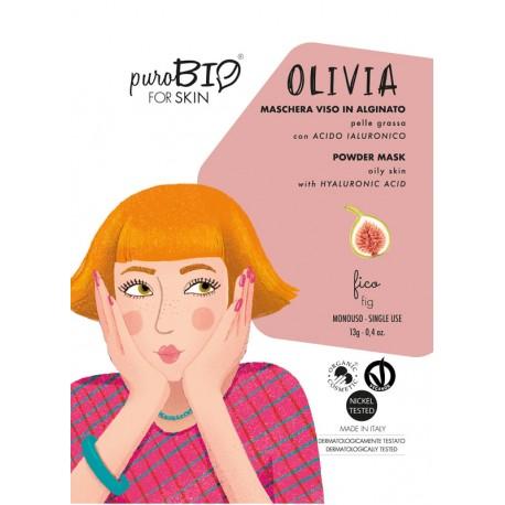 """MASCHERA VISO IN ALGINATO PELLE GRASSA """"OLIVIA"""" 12 - PUROBIO"""